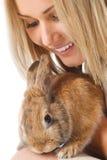 Ładna dziewczyna z królikiem obrazy stock