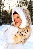 ładna futerkowa żakiet dziewczyna Zdjęcia Stock