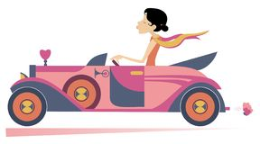 Ładna kobieta jedzie samochodową ilustrację ilustracji