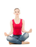 Ładna kobieta robi joga ćwiczeniu odizolowywającemu Zdjęcie Stock