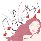 Ładna kobieta słucha piosenek miłosnych oczy zamykający ilustracji