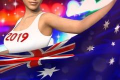 Ładna kobieta trzyma Australia flagę w przodzie na partyjnych światłach - bożych narodzeń i 2019 3d nowego roku pojęcia chorągwia ilustracji