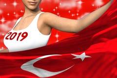 Ładna kobieta trzyma Turcja flagę w przodzie na czerwonych kolorowych chmurach - bożych narodzeń i 2019 3d nowego roku pojęcia ch ilustracji