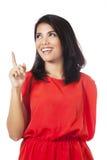 Ładna kobieta z czerwieni ubraniami ma pomysł obraz stock