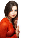 Ładna kobieta z czerwonym wierzchołkiem Zdjęcia Royalty Free