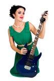 Ładna kobieta z gitarą Zdjęcie Stock