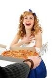 Ładna kobieta z pizzą Fotografia Royalty Free