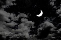 Ładna księżyc i gwiazda w nocnym niebie Obrazy Stock