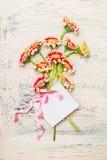 Ładna kwiat wiązka z pustym kartka z pozdrowieniami i różany faborek na lekkim podławym modnym tle Fotografia Stock