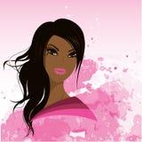 Ładna młoda amerykanin afrykańskiego pochodzenia kobieta, Wektorowa ilustracja Obraz Stock