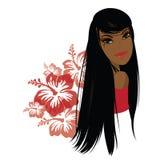 Ładna młoda amerykanin afrykańskiego pochodzenia kobieta, Wektorowa ilustracja ilustracji