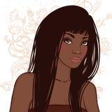 Ładna młoda amerykanin afrykańskiego pochodzenia kobieta z piękny długie włosy royalty ilustracja