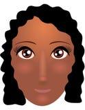 Ładna młoda amerykanin afrykańskiego pochodzenia kobieta z pięknym włosy również zwrócić corel ilustracji wektora Zdjęcia Royalty Free