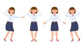 Ładna młoda biurowa dziewczyna szokująca, zaskakujący, zadziwiający, pod naciskiem ilustracja wektor