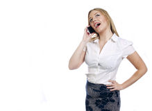 Ładna młoda biznesowa kobieta robi rozmowie telefonicza Zdjęcia Stock