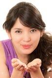 Ładna młoda dziewczyna jest ubranym piżamy siedzi z Obrazy Stock