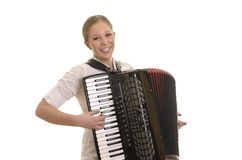 Ładna młoda kobieta bawić się akordeon fotografia stock