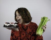 Ładna młoda kobieta próbuje dieta Obraz Royalty Free