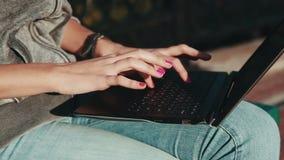 Ładna młoda kobieta pracuje z laptopem w miasto parku zbiory wideo