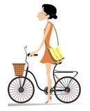 Ładna młodej kobiety pozycja z rowerową odosobnioną ilustracją ilustracji