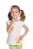 Ładna mała dziewczynka myśleć Zdjęcie Stock