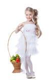Ładna mała dziewczynka z owoc obrazy stock