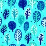 Ładna ręka rysujący zim drzewa w pięć kolorach bezszwowy wzoru Zdjęcie Royalty Free