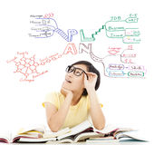 Ładna studencka dziewczyna myśleć o przyszłościowym planowaniu Obraz Royalty Free