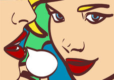 Ładna wektorowa wystrzał sztuki retro komiczna ilustracja Kobieta szepcze plotki lub sekretu jej przyjaciel bąbla graficznej osob Obrazy Stock