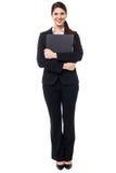 Ładne żeńskie sekretarki mienia biznesu kartoteki Obrazy Stock