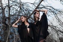 Ładne brunetek dziewczyny jest ubranym czarny pozować outdoors na błękitnym lata niebie z jaskrawym makeup i różowymi wargami Ret Obrazy Royalty Free