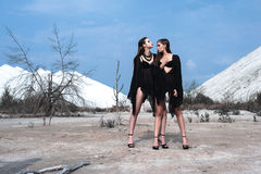 Ładne brunetek dziewczyny jest ubranym czarny pozować outdoors na błękitnym lata niebie z jaskrawym makeup i różowymi wargami Ret Fotografia Stock