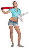 Ładne kobiety mienia papieru ślimacznicy i czerwień Fotografia Stock