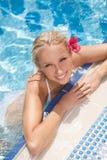 Ładne kobiety w basenie. Odgórny widok atrakcyjne młode kobiety w biki Obrazy Royalty Free