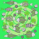 Ładne kreskówek ryba ustawiać wektor bezszwowy wzoru Obrazy Royalty Free