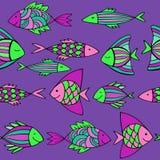 Ładne kreskówek ryba ustawiać wektor bezszwowy wzoru Obraz Stock