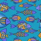 Ładne kreskówek ryba ustawiać wektor bezszwowy wzoru Zdjęcie Royalty Free