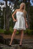 Ładne młode kobiety w biel sukni Zdjęcia Royalty Free