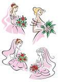 Ładne panny młode z kwiecistymi bukietami royalty ilustracja