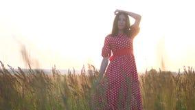 Ładnego dziewczyny brunetki portreta warg wielki wiatr rozwija włosianego portret w polu przy zmierzch sylwetką w czerwieni sukni zbiory wideo