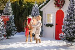 Ładnej blondynki kędzierzawa dziewczyna i uroczy konik z świątecznym wiankiem blisko śnieżystych drzew i małego domu fotografia stock
