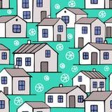 Ładni błękitni zima domy ustawiający Obraz Royalty Free