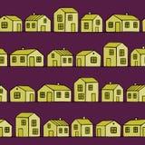 Ładni kolorów żółtych domy ustawiający z purpurowym tłem wektor bezszwowy wzoru Obraz Royalty Free