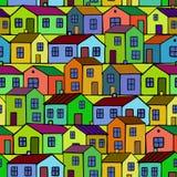 Ładni kolorowi domy ustawiający wektor bezszwowy wzoru Zdjęcie Stock