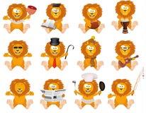 Ładni kreskówka lwy ustawiający Zdjęcie Stock