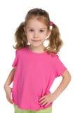 Ładni mała dziewczynka stojaki Fotografia Stock