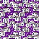 Ładni monochromów domy ustawiający z purpurowym tłem wektor bezszwowy wzoru Zdjęcie Stock