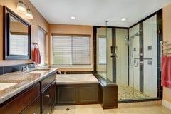 Ładny łazienki wnętrze z ciemnym drewnianym meble obrazy stock