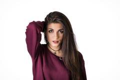 Ładny żeński brunetka model w studiu Zdjęcie Royalty Free