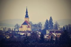 Ładny antyczny kościół Troubsko - Południowy Moravia - republika czech przypuszczenia kościół novgorod obrazy royalty free